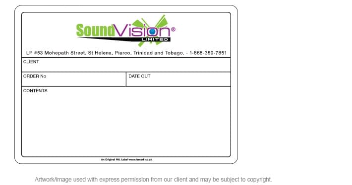 Printed PAL Road Case Label for Sound Vision