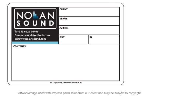 Printed PAL Road Case Label for Nolan Sound