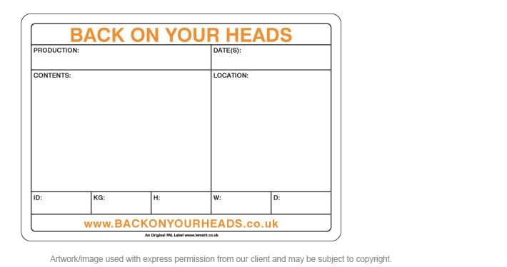 Printed PAL Road Case Label for Back On Your Heads