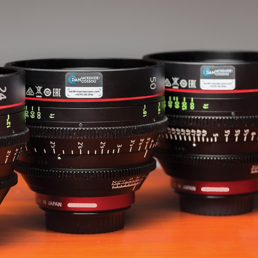 Le Mark Equipment Labels identify ownership of camera lenses for Dan Mckenzie-Cussou