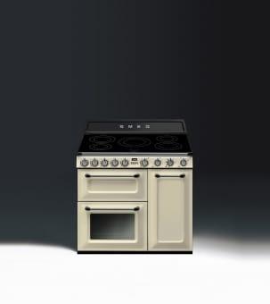 Smeg TR93IP - 90cm Victoria Induction Range Cooker - Cream | Appliance City