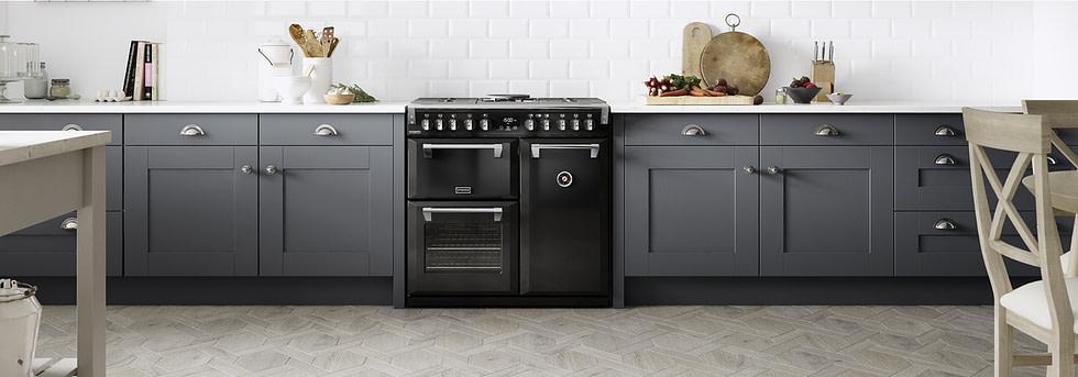 White tiled splash-back with Stoves range cooker