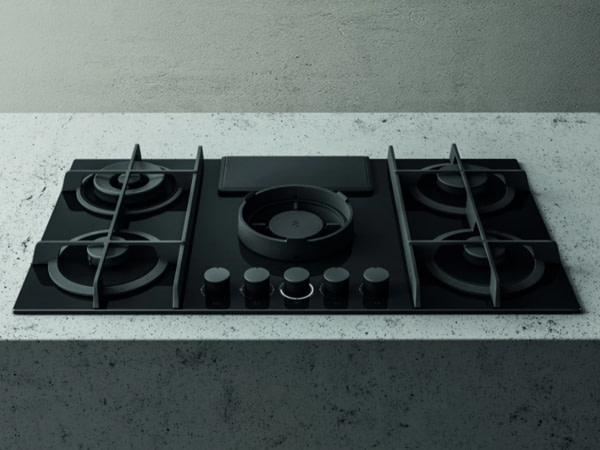 Elica NIKOLATESLA FLAME BLK DO 88cm Ducted Air Venting Gas Hob – BLACK