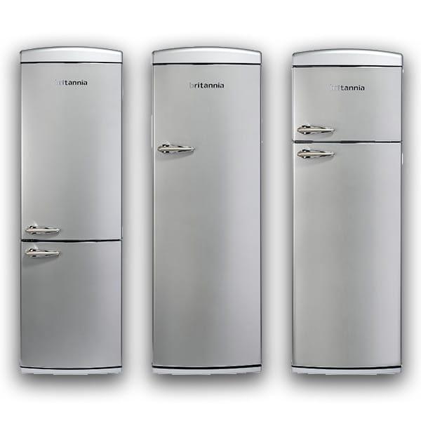 Retro refrigeration in Silver by Britannia at Appliance City