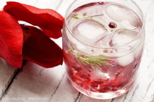 Pomegranate and rosemary water