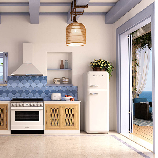 Tiled splash-back with Smeg range cooker