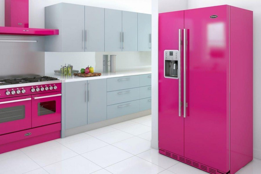 Britannia Colourange Montana fridge freezer, Arioso hood and Delphi range cooker - Cerise & Grey - high res_0