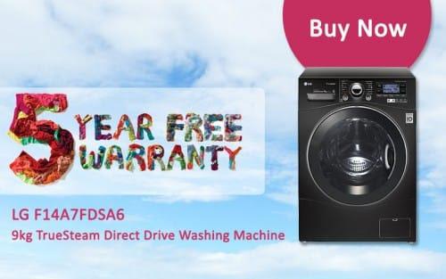 FREE 5 Year Warranty - LG F14A7FDSA6 - 9kg TrueSteam Direct Drive Washing Machine | Appliance City