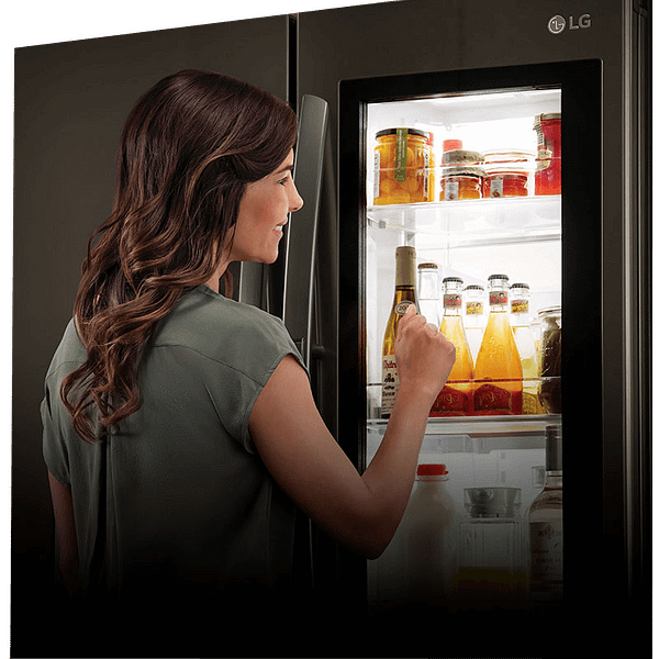 Lady with an LG American fridge freezer
