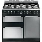 Smeg Symphony SY93BL - 90cm Dual Fuel Range Cooker - Gloss Black | Appliance City