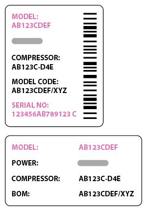 Samsung fridge freezer serial number label