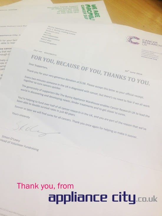 Thank You From Appliance City | Charity Donations Macmillan & Cancer Research UK