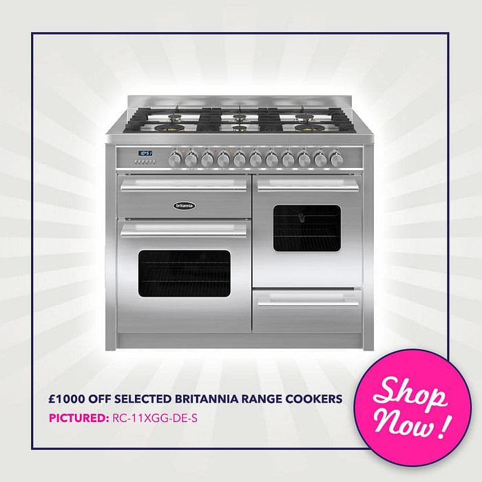 Up to £1000 off selected Britannia range Cookers - Pictured: Britannia RC-11XGG-DE-S 110cm Delphi XG Dual Fuel Range Cooker | Appliance City