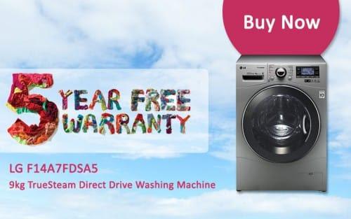 FREE 5 Year Warranty - LG F14A7FDSA5 - 9kg TrueSteam Direct Drive Washing Machine | Appliance City
