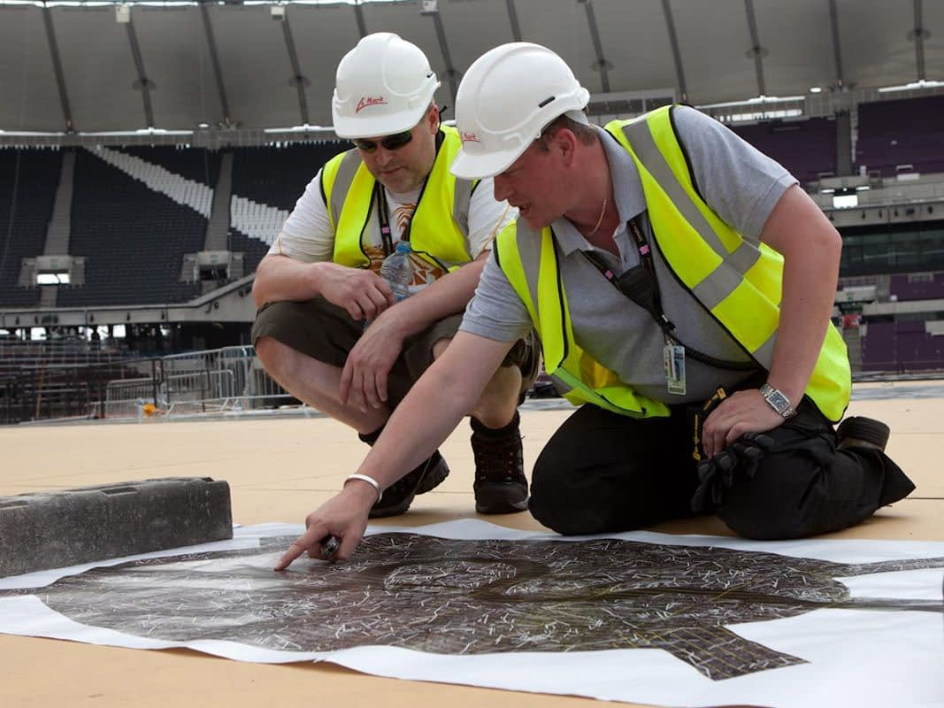 Printed Floor for London 2012 Opening Ceremony (construction - planning installation)