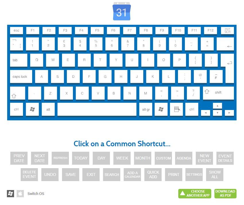 Google Calendar keyboard shortcuts