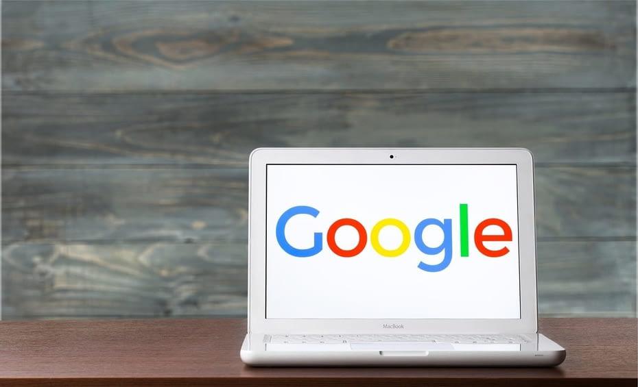 Google logo on a laptop