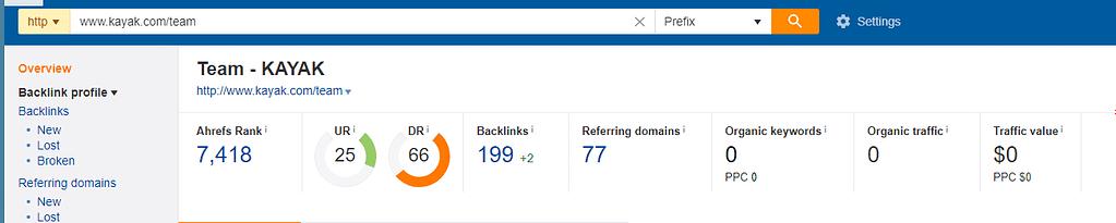 backlink profile in ahrefs