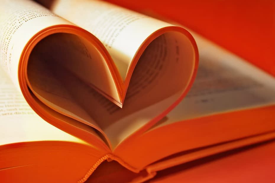 Heart shaped pages in a book