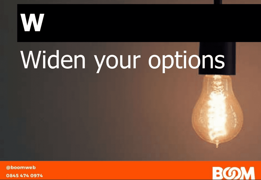 Lightbulb, widen your options