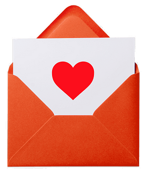 An envelope containing a card with a heart on it