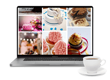A laptop showing images of cakes
