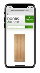 A mobile phone showing the Doors & More website