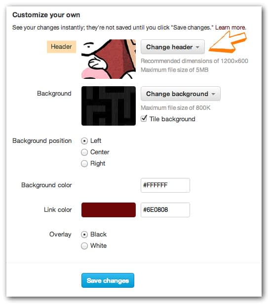 To customise your header photo, follow the steps