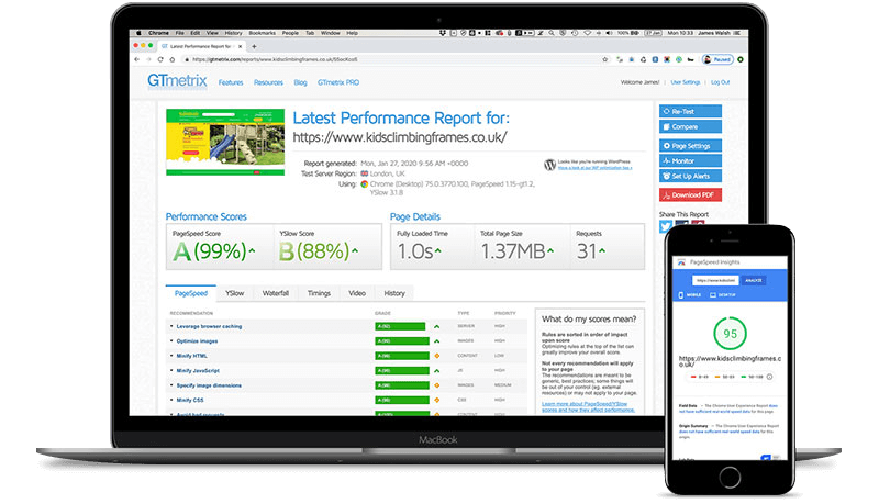 GTMetrix performance report for a website