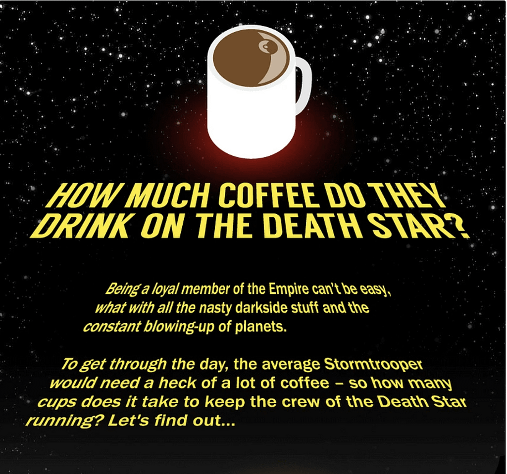 Star Wars Coffee - Content Marketing:  Planning & Optimising for Outreach - Boom Online Marketing