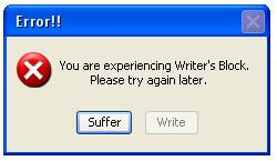 Writer's Block Error Message Popup