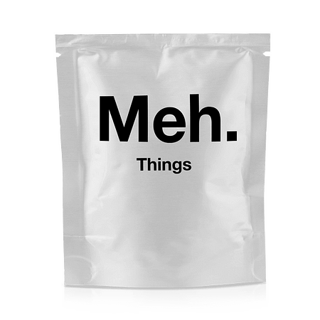 A product packet with words on it