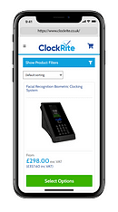 A mobile phone showing the Clockrite website
