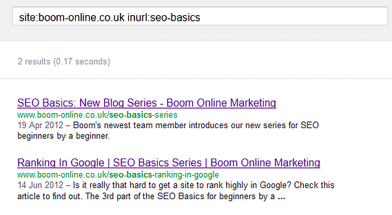 search results from query