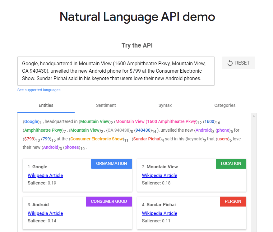 Natural Language Processing API