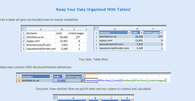 microsoft excel for seo