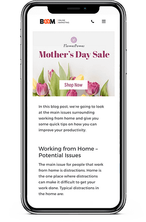 A mobile display ad for mother's day