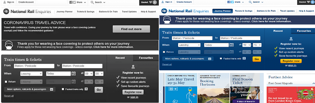 On the left is National Rail's grayscale design and on the right is their usual blue and white design.