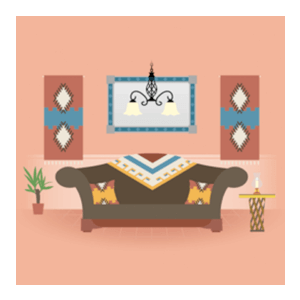 An illustration of a Mexican living room