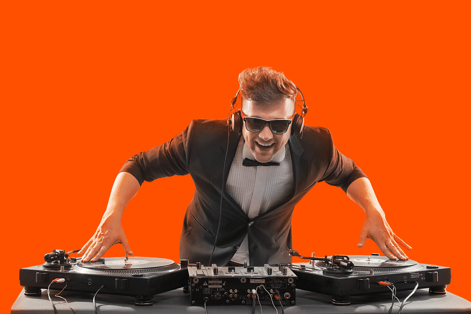 DJ on an orange background
