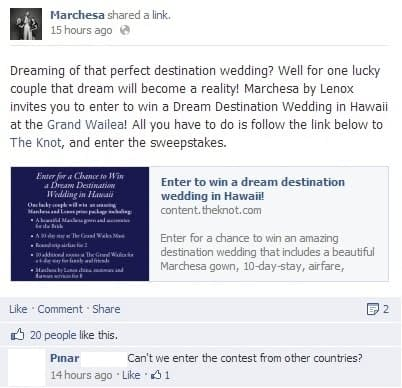 Marchesa Facebook competition