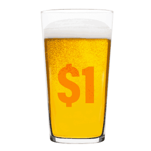 A glass of beer with a dollar symbol