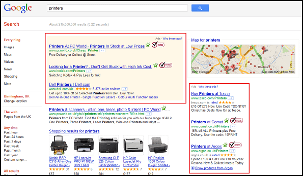 Highlighted paid ads in Google SERP