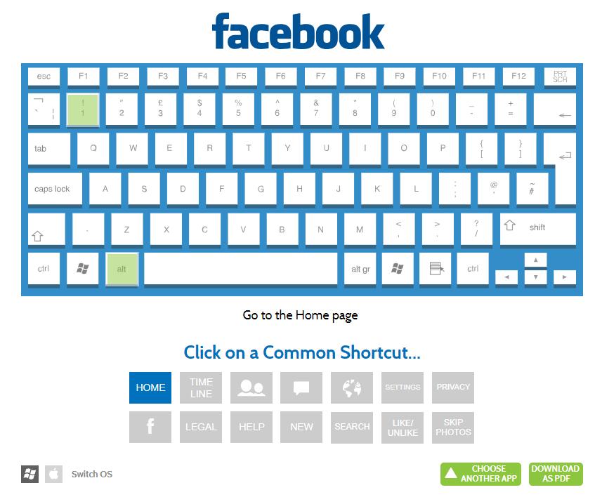 Facebook keyboard shortcuts