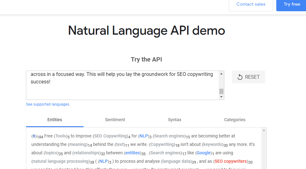 checking writing with Google's NLP