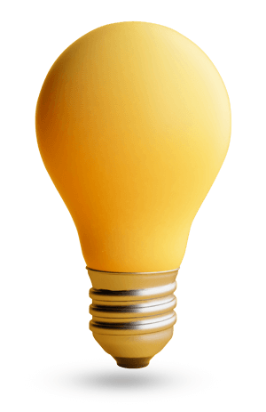 A yellow lightbulb
