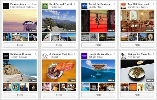Some of the travel businesses using place pins