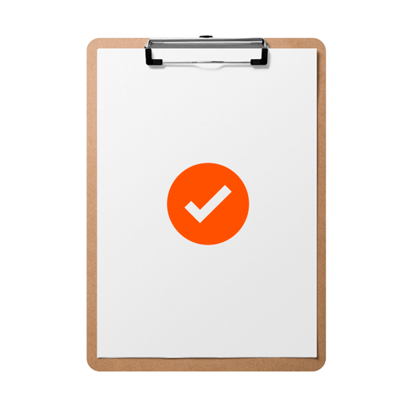A clipboard showing a checkmark