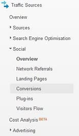 analytics social menu