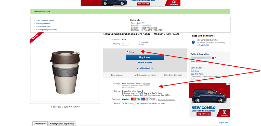 Selling on eBay details